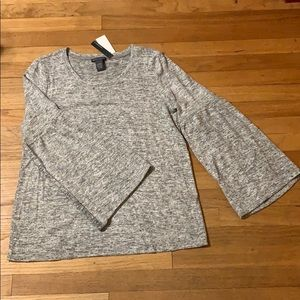 Chelsea and Theodore - grey bell sleeve sweater